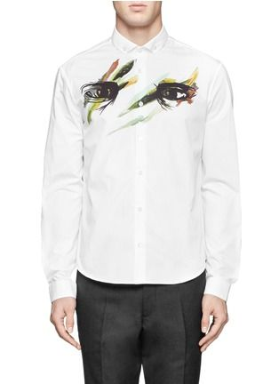 MCQ ALEXANDER MCQUEEN - Painted eyes print cotton shirt | White Casual Shirts Shirts | Menswear | Lane Crawford