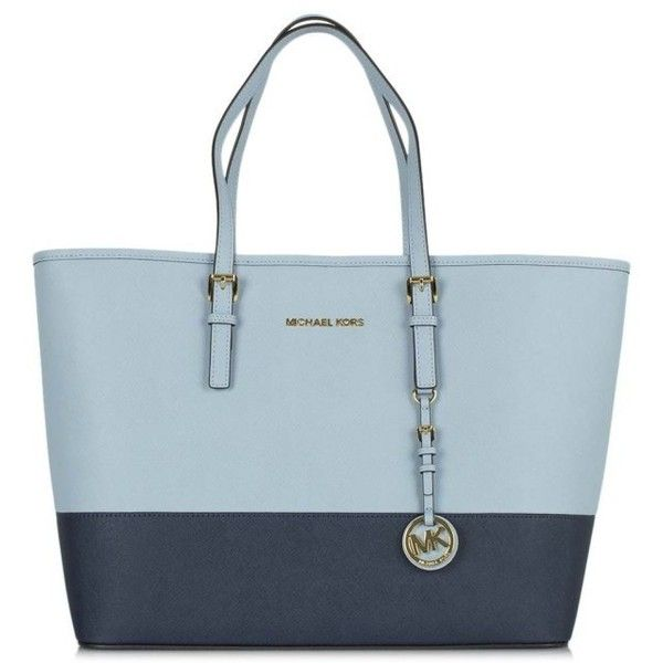 Michael Kors Blue Leather Jetset Travel Contrast Medium Tote Bag (405 CAD) ❤ liked on Polyvore featuring bags, handbags, tote bags, leather handbags, michael kors handbags, michael kors tote bag, blue leather purse and blue leather tote
