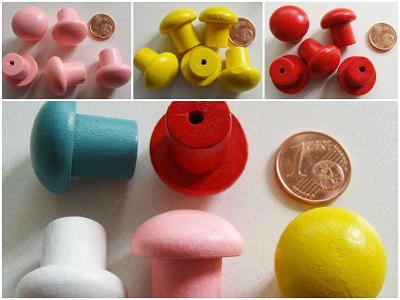Carton-bouton-xx Poignée bouton en bois peint mix 5 couleurs, base à