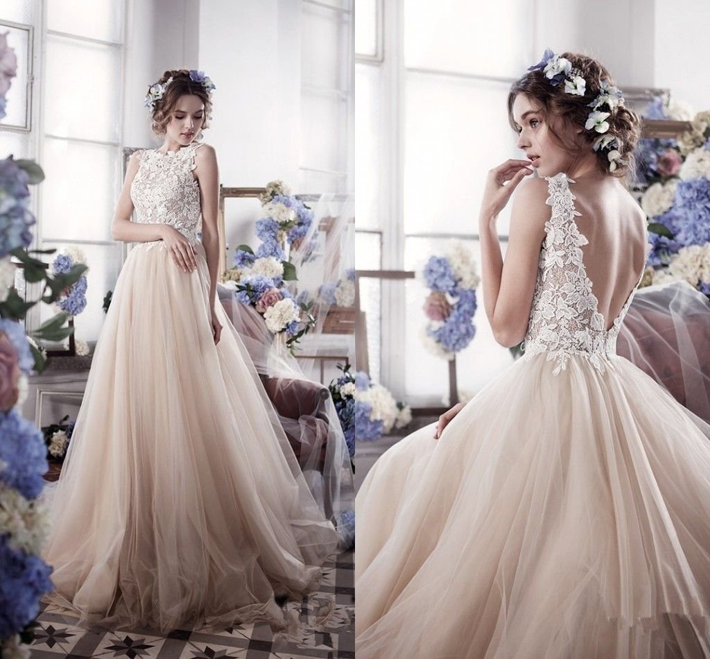 Champagne Colored Wedding Dresses Backless Beach