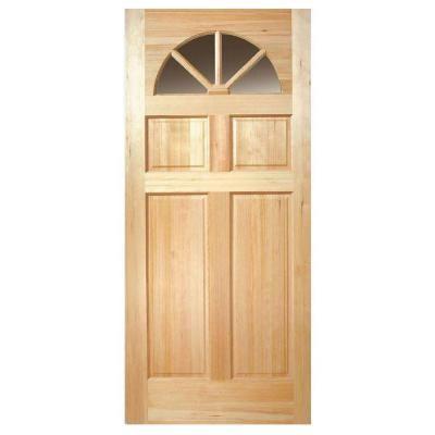 Veranda 36 In X 80 In Fan Lite Clear Glass Unfinished Fir Wood Front Door Slab Firfnc3680 The Home Depot Wood Exterior Door