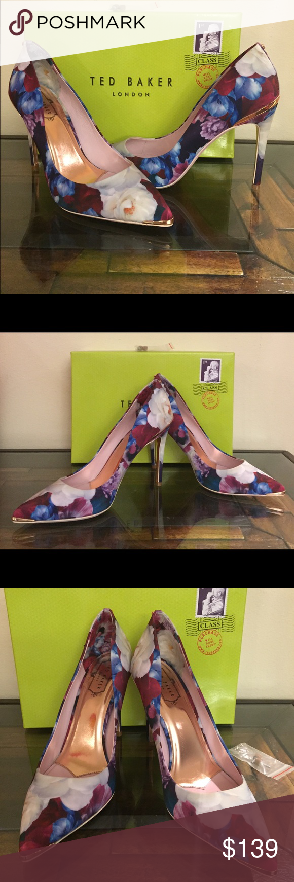 589d0955353171 Ted Baker Kaawap pointy toe blushing bouquet pump Ted Baker London s iconic  Blushing Bouquet pattern envelopes this gorgeous pointy-toe pump with his  ...