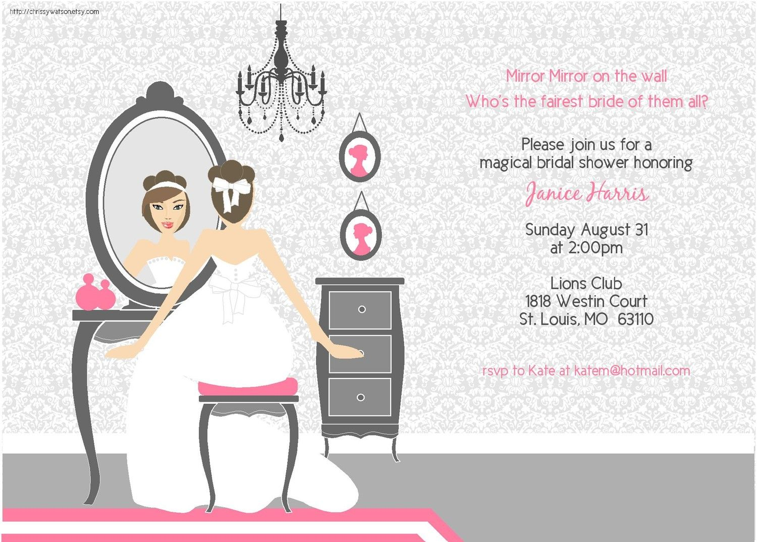 Bridal Shower Invitation Wedding Shower Bachlorette Party