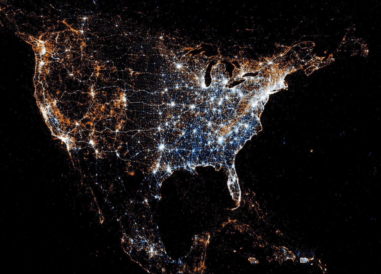 Infographic Of The Day Using Twitter And Flickr Geotags To Map - Us map at night from space