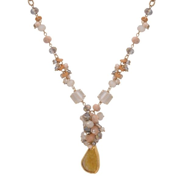 Wholesale gold chain link necklace cluster beige ivory beads hanging citrine nat