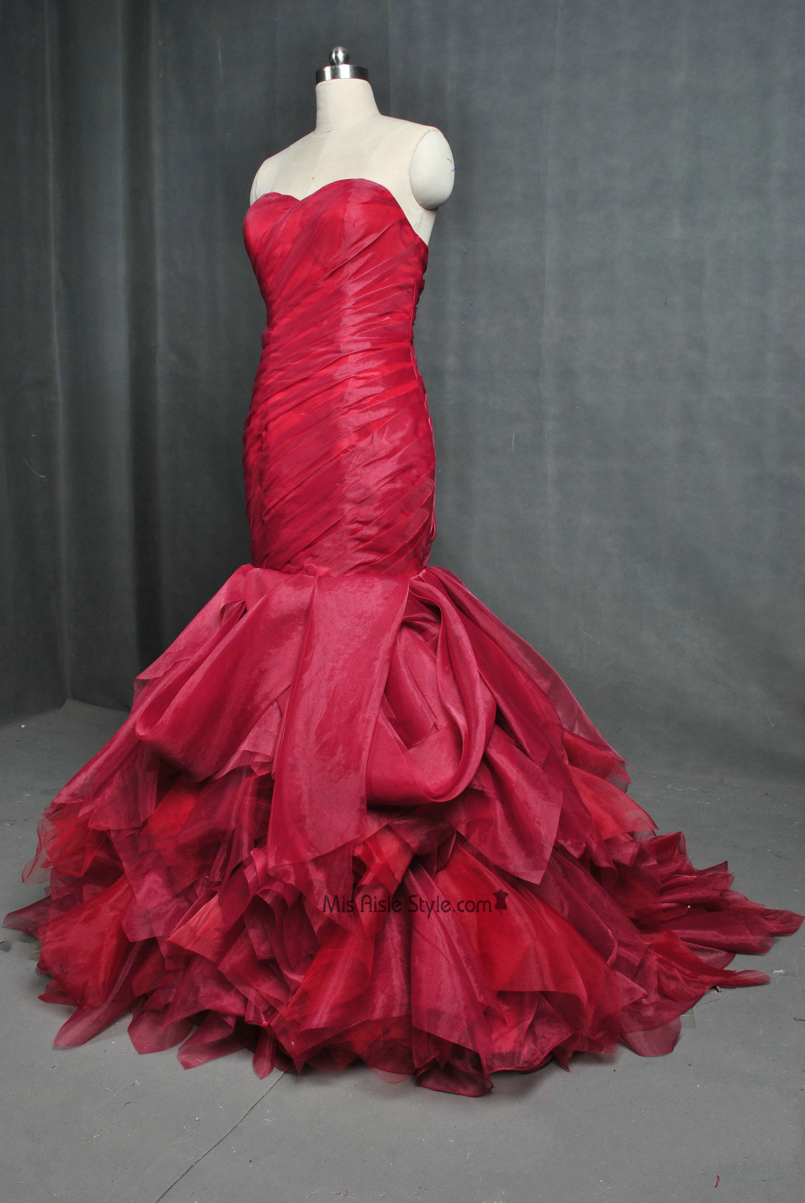 Elegant Mermaid Dark Red Wedding Dress   Wedding Dresses   Pinterest ...