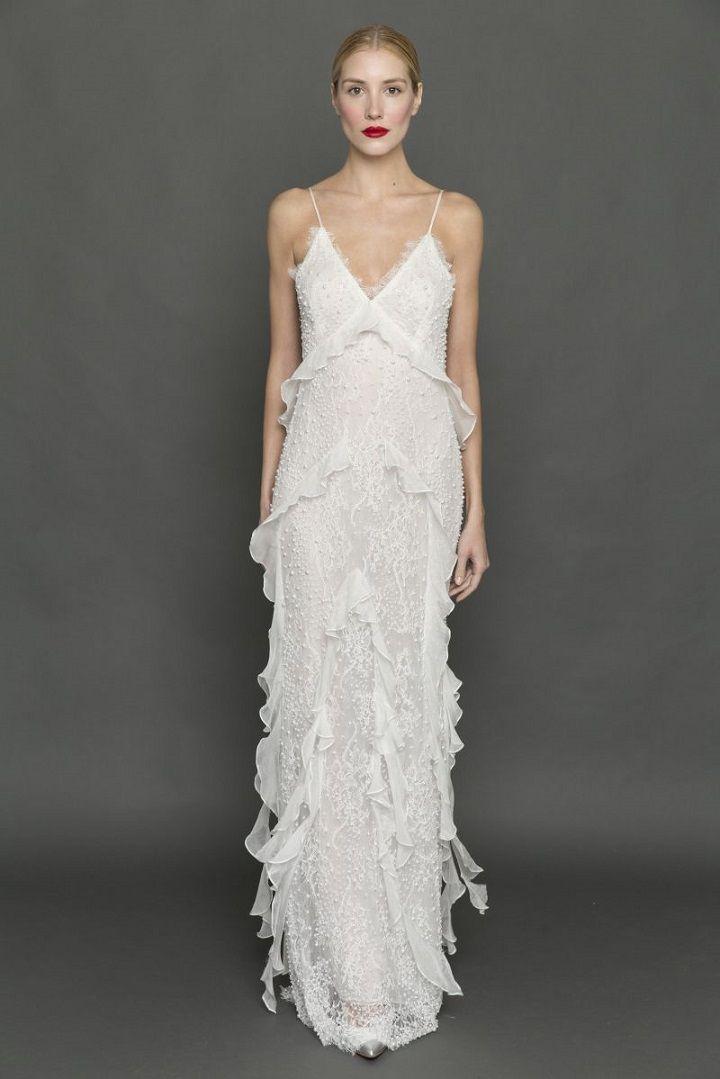 Francesca Miranda spaghetti strap cascading ruffle wedding dress | itakeyou.co.uk #weddingdress #weddingdresses #ruffle #bride #bridalgown #weddinggown #weddinggowns