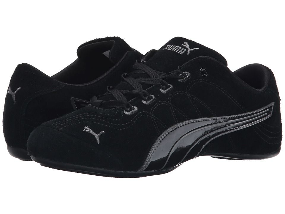 PUMA PUMA - SOLEIL V2 SUEDE PATENT (BLACK/STEEL GRAY) WOMEN'S SHOES.
