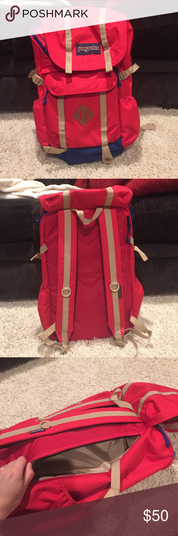 Jansport Backpack Red, blue, and tan. It's very spacious. Has a big main compartment, front pocket, 2 side pockets for water bottles, and a compartment in the back. It also has a laptop sleeve. This bag is brand new, unused! Jansport Bags Backpacks