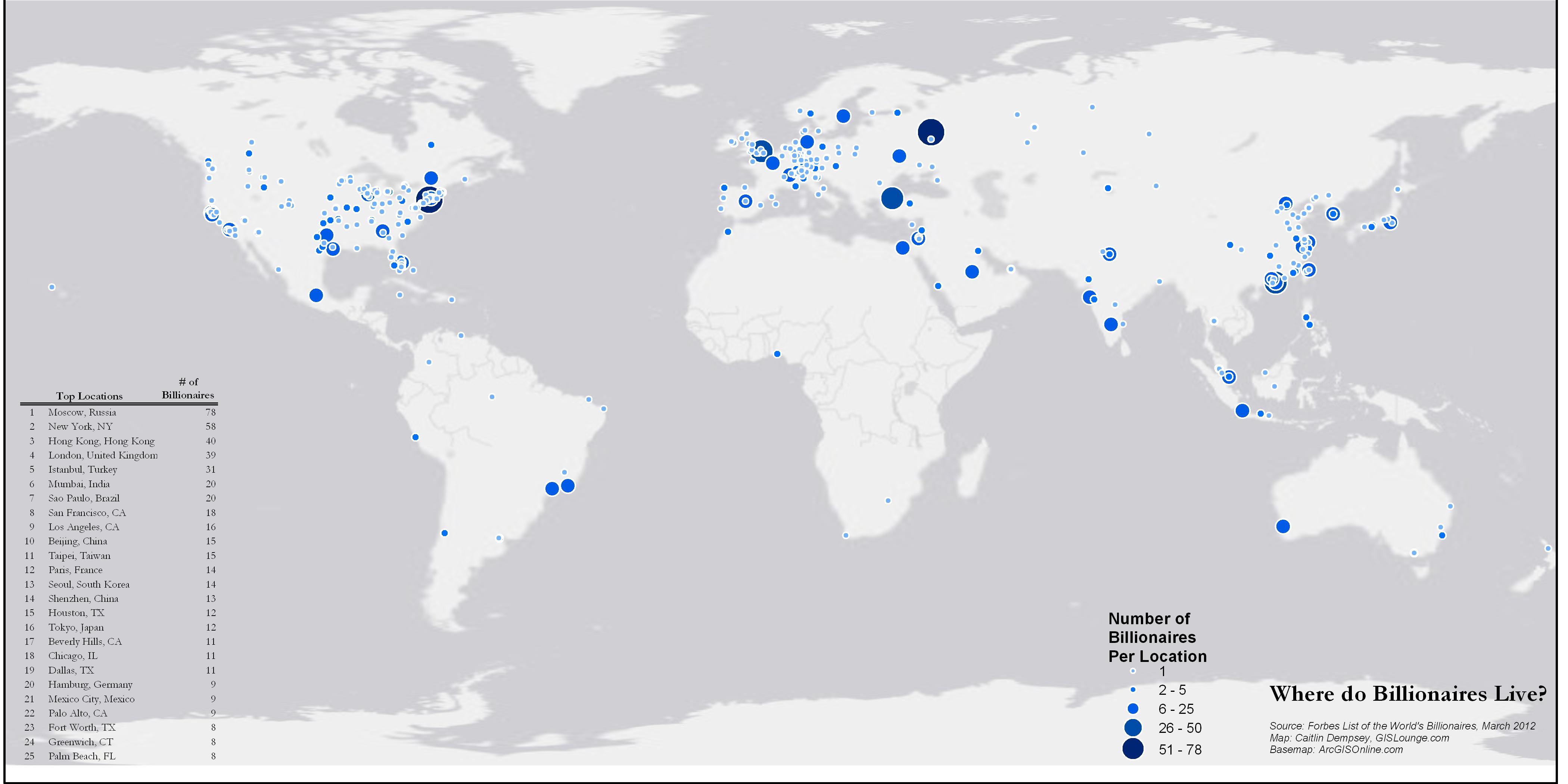 The world's billionaires. A graduated symbol map. (с