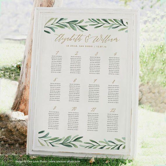 Greenery Wedding Seating Chart Template u2022 Printable Seating Chart - seating chart templates