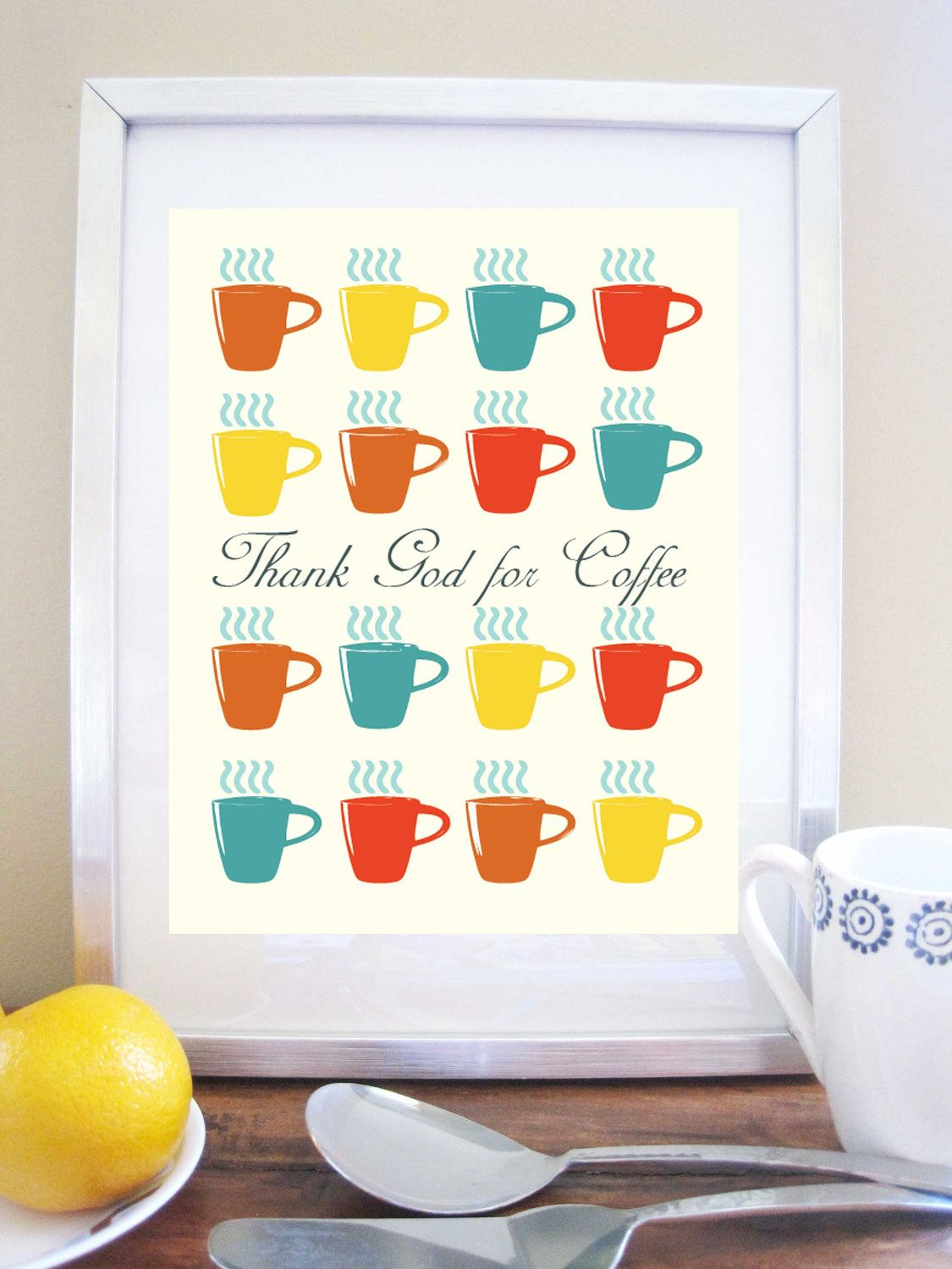 Coffee Artwork Kitchen Art Print Colorful Mugs 8 5x11inches Other Sizes 20 00 Via Etsy