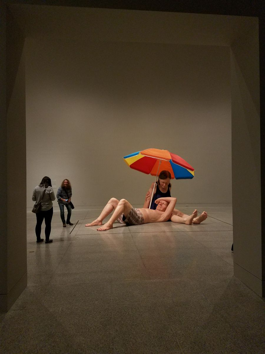 hyper realistic sculpture by artist ron mueck at the houston museum