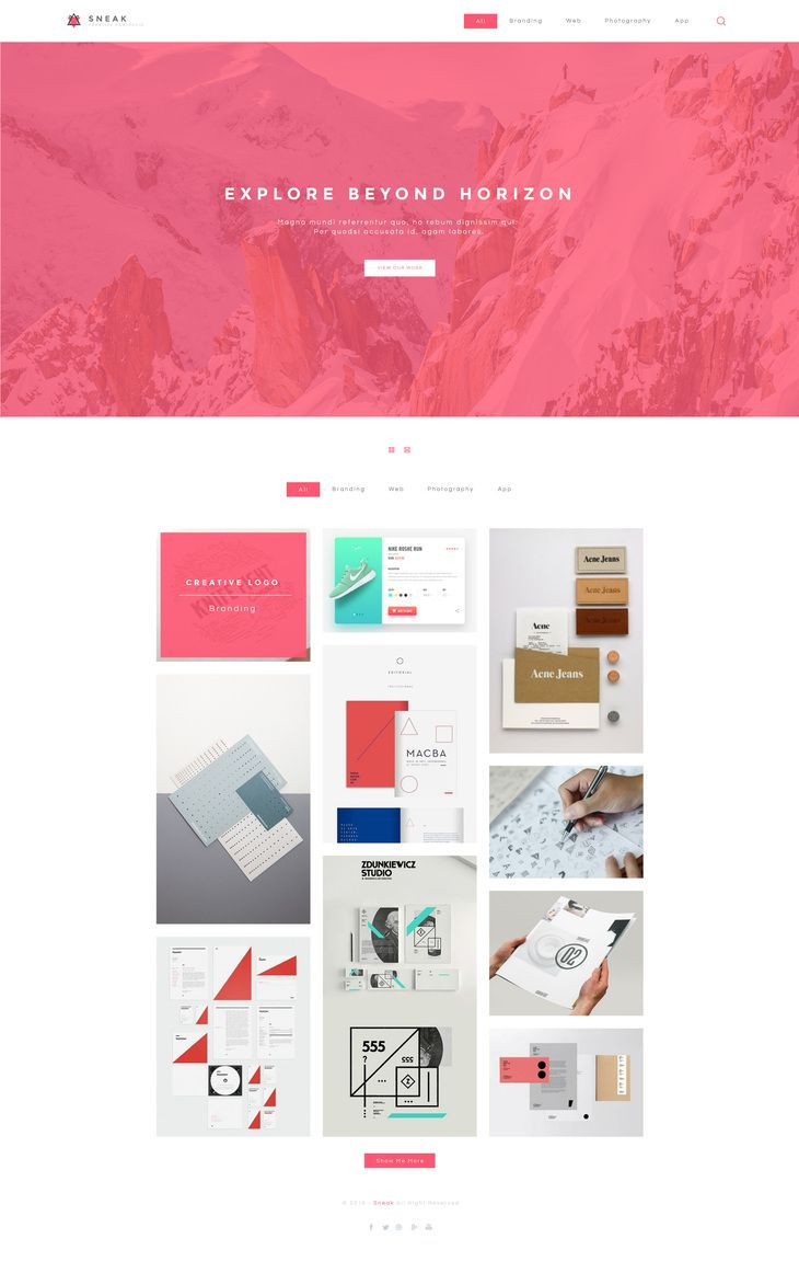 Sneak Simple Portfolio Psd Website Template Preview Best Free