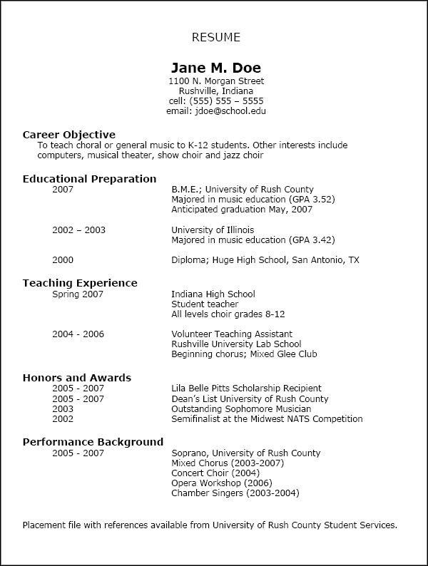 Nafme Music Education Resumes Education Resume Teacher Resume Template Sample Resume Templates