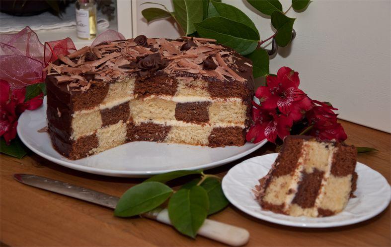 Checkerboard cake – tastes as wonderful as it looks!