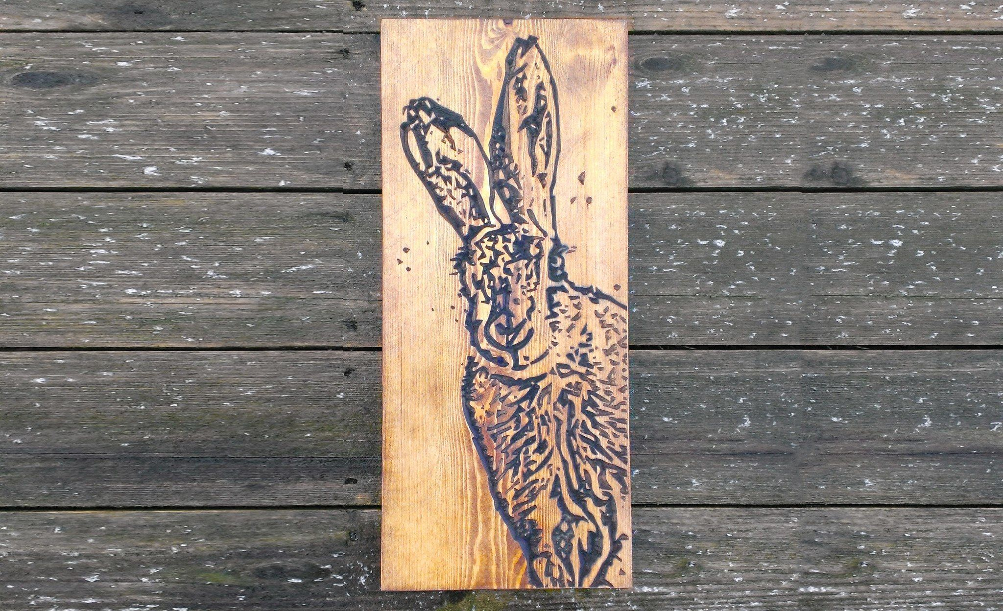 Large engraved handcrafted dark oak hare wall art from bramble signs