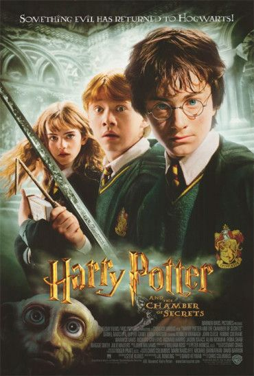 """27x40 Inch Harry Potter and the Chamber of Secrets movie poster features Harry Potter holding the Sword of Gryffindor, Hermione Granger, Ron Weasley and Dobby the House Elf with the caption """"Something Evil Has Returned to Hogwarts!"""" Get it now at http://harrypottermovieposters.com/product/harry-potter-and-the-chamber-of-secrets-movie-poster-style-e-27x40-inch/"""
