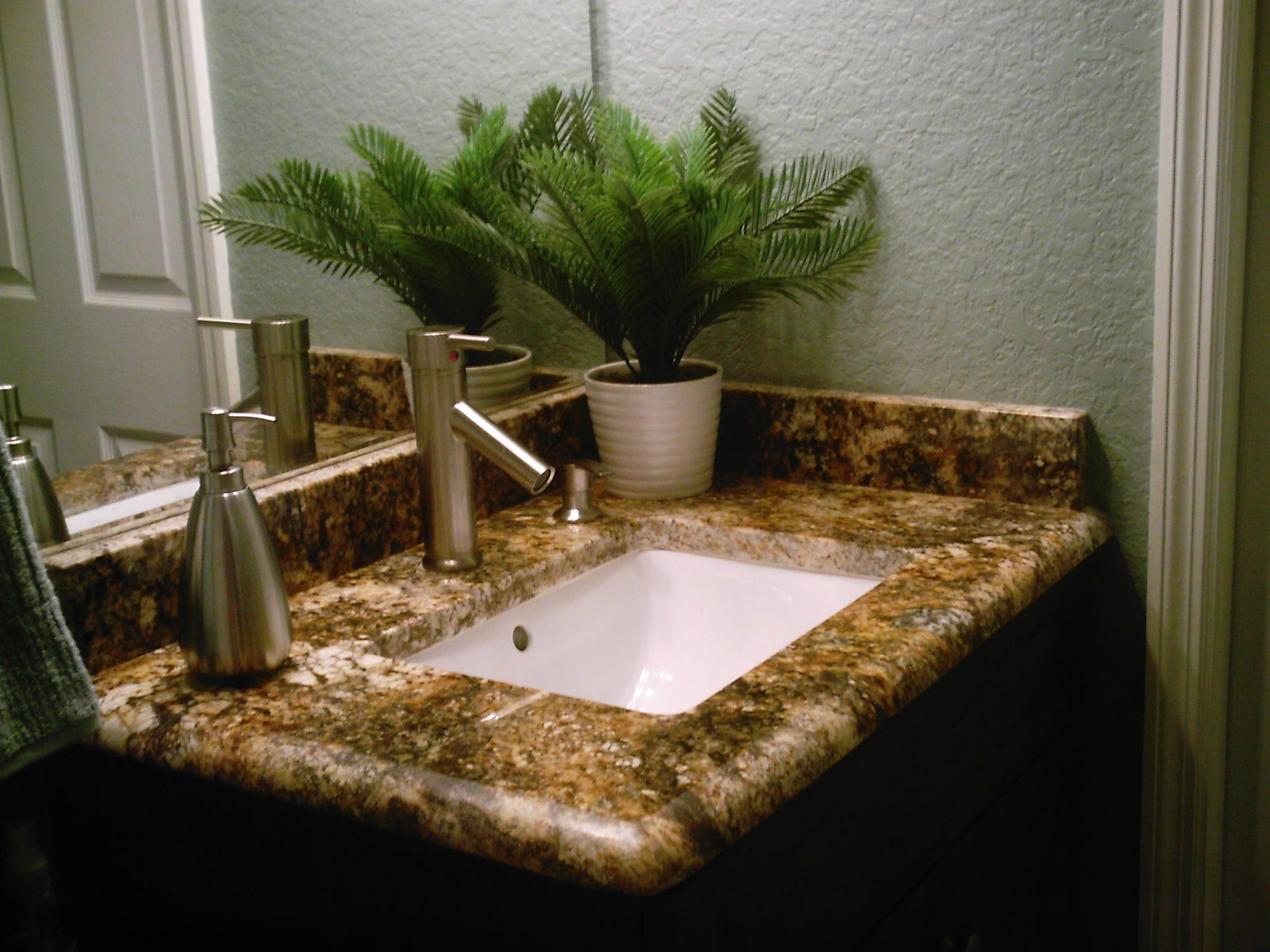 Brownmarblecountertopbathroomideassmalltileremodel - Faux marble bathroom countertops for bathroom decor ideas