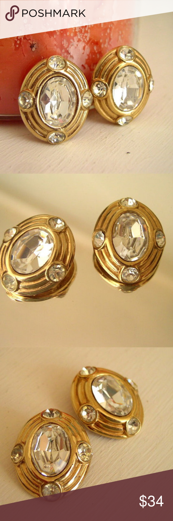 Silver and Gold Oval Cabochon Stud Earrings Costume Jewelry Two Tone  Statement Earrings Chunky Stud Earrings Vintage Jewelry