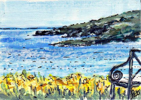 ACEO Daffodils on a Clifftop Original Acrylic by ShooglyBeads, £3.50