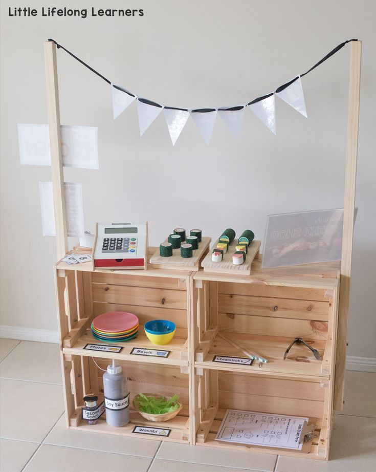 DIY Market Stand for Dramatic Play  Little Lifelong Learners  DIY Market Stand for Kids  IKEA Hack  Ikea kids play hack  Play ideas for toddlers preschool k
