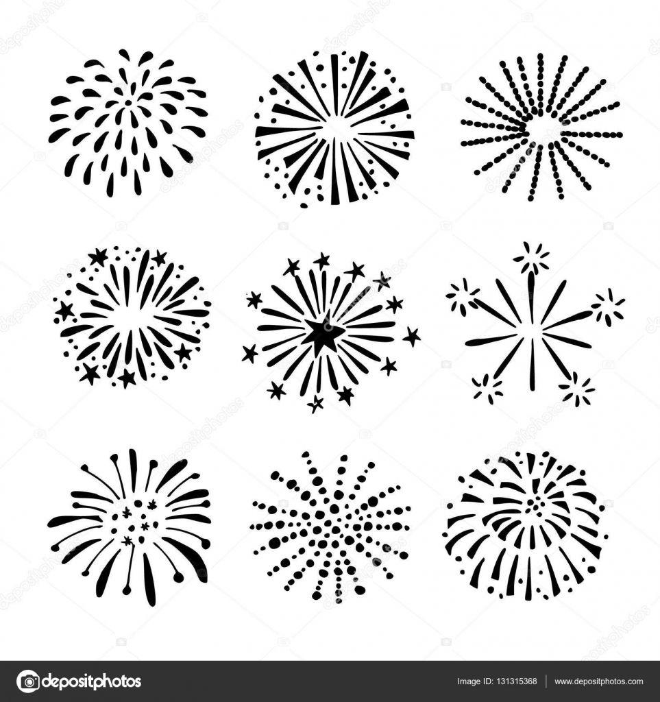 Set of hand drawn fireworks sunbursts isolated black white