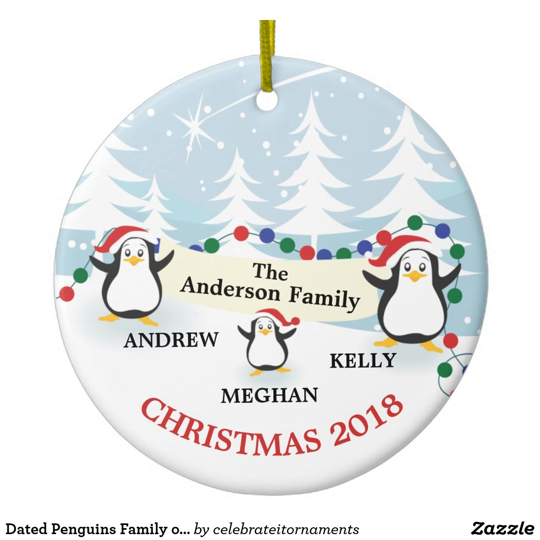 Personalised Christmas Xmas Card To the Family Penguins add all family members
