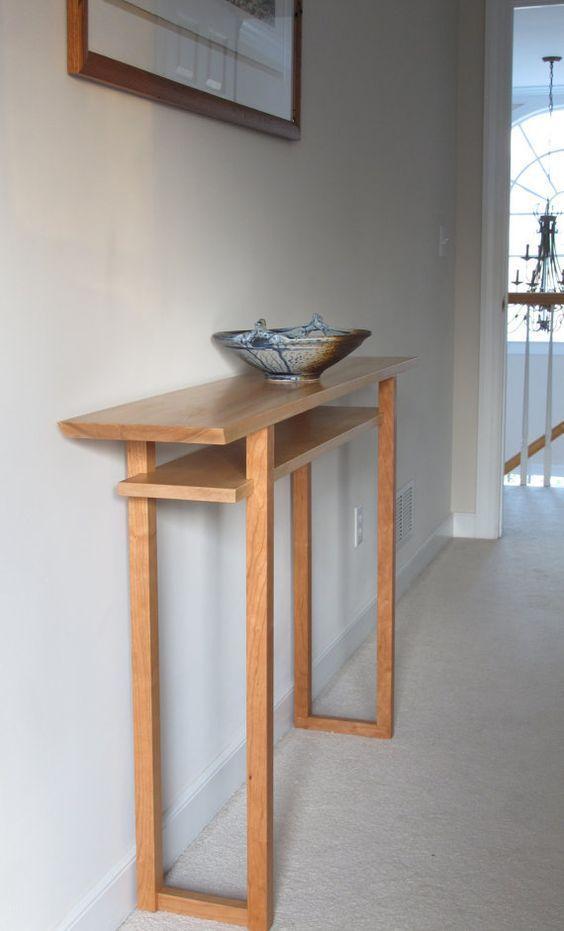 Best Hall Table Mid Century Modern Wood Furniture Tiger Maple 400 x 300