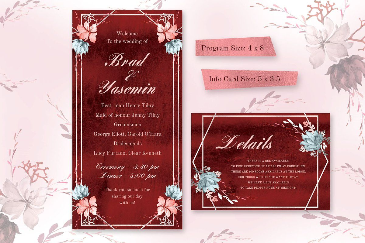 Marsala Watercolor Wedding Suite Wedding Invitations Watercolor