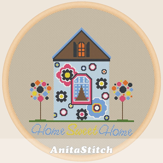 Home sweet home Cross stitch pattern by AnitaStitch on Etsy