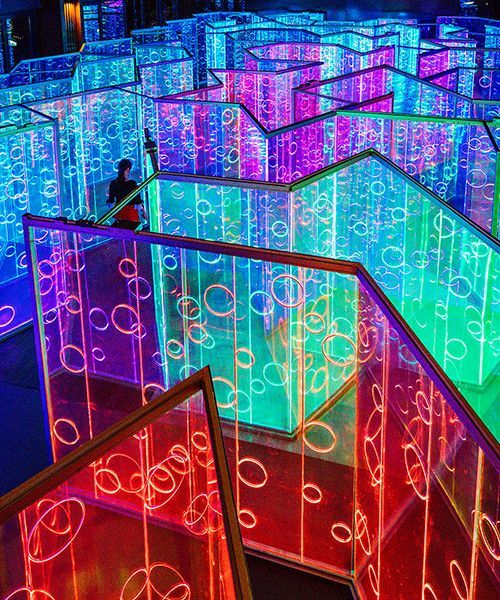 rainbow-hued light labyrinth by brut deluxe forms an immersive infinity room in china #lightartinstallation