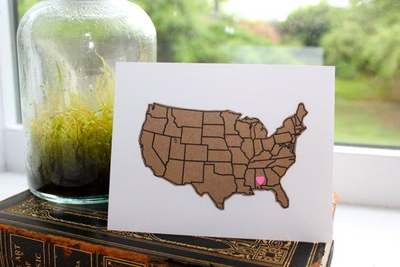 Custom State Greeting Card // version 3  Heart Cut by IndieAndChic, $4.50