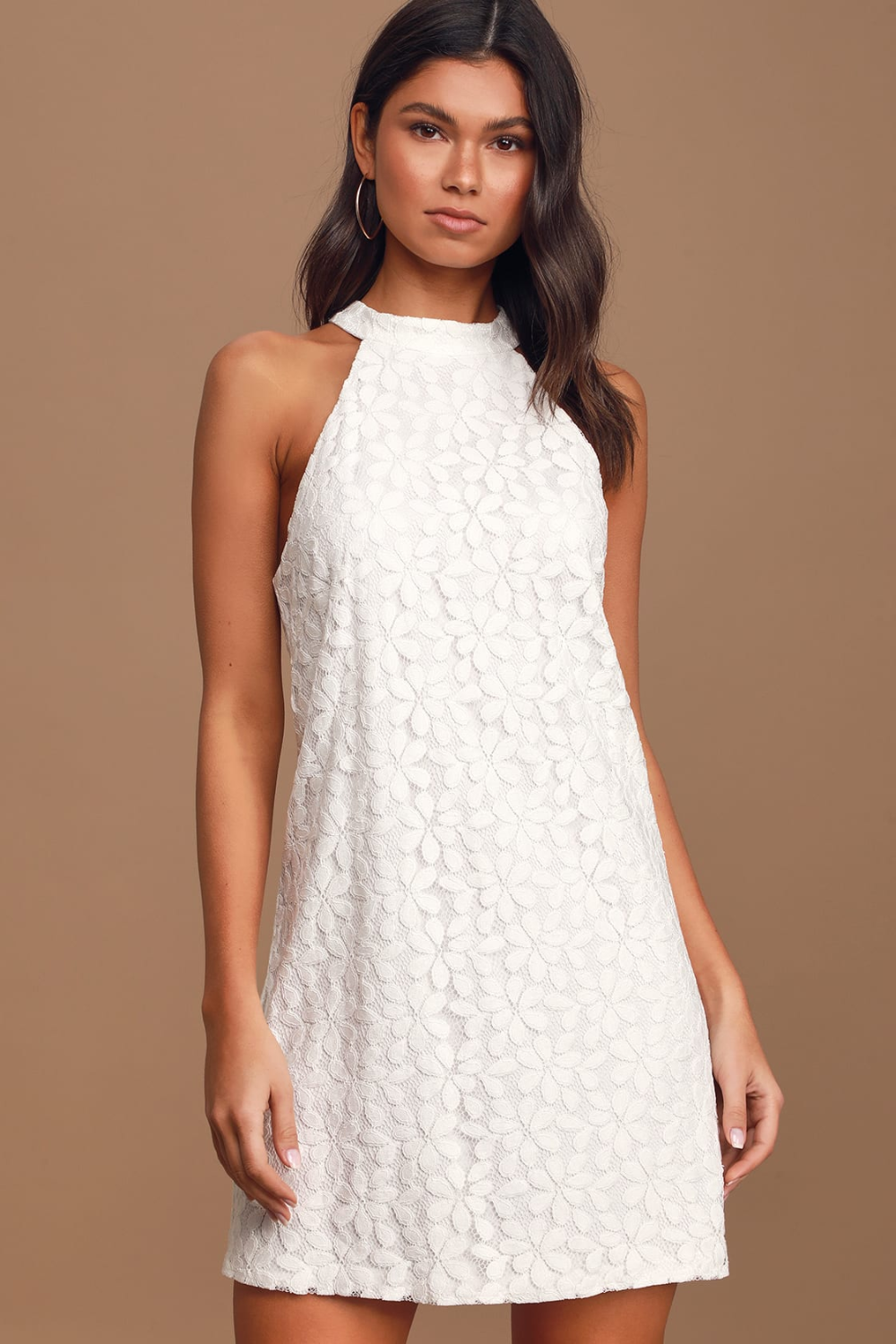 All My Adoration White Lace Halter Shift Dress Lace Shift Dress Shift Dress Dresses [ 1500 x 1000 Pixel ]