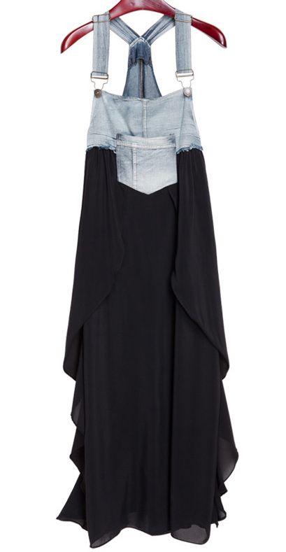 Black Denim Chiffon Dress