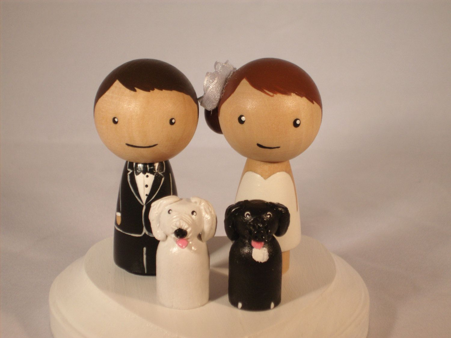 Custom cake wedding topper with two pets custom kokeshi wedding cake