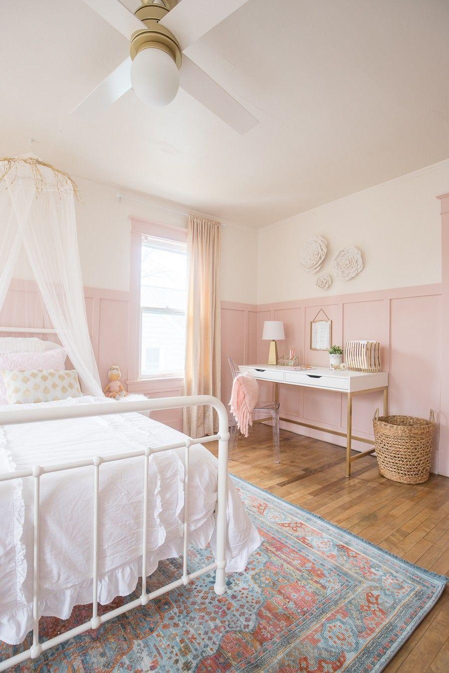 ピンクとゴールドの女の子の寝室 部屋 ベッドルームのアイデア 寝室