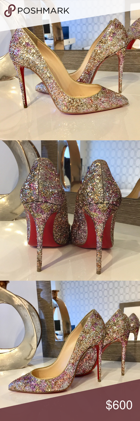56b0c1aafce Authentic Christian Louboutin Glitter Heels Selling Christian Louboutin 100  mm Heels. Beautiful glitter throughout the