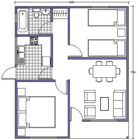 Plano de casa 42m2 casas peque as pinterest planos for Casa con planos completos