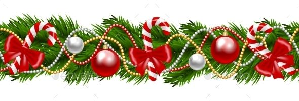 Christmas Decorative Fir Tree Garland Isolated On White Vector Illustration Fully Editable