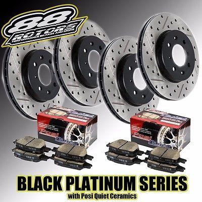 Frs Brake Pads >> Front Rear Drilled Slotted Black Platinum Rotors Posi