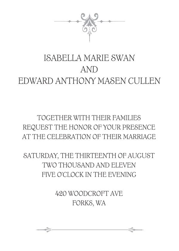 7c5538826b66 Planning a Twilight-inspired wedding  We just found your perfect invitations   Hallmark released a replica of Bella and Edward s classic invitation