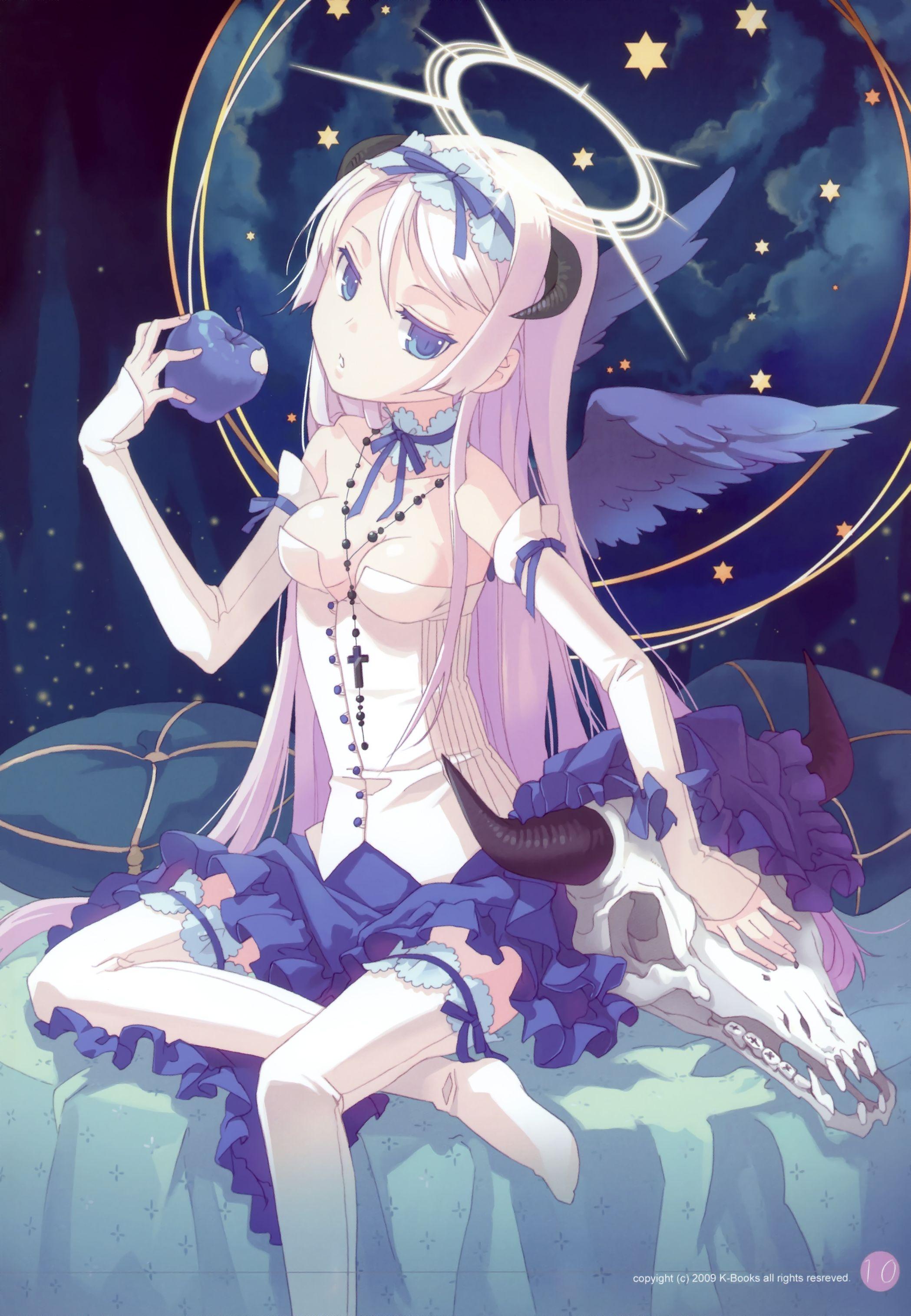 ✮ Anime Art ✮ Angel Angel Wings Horns Halo