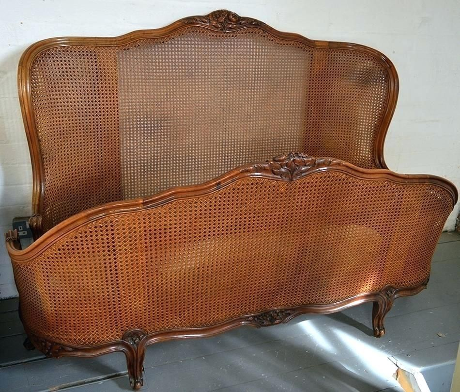 antique french cane bed king size Antique king size bed