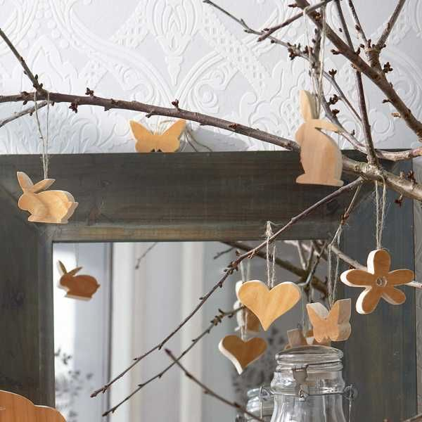easter tree with wood ornaments