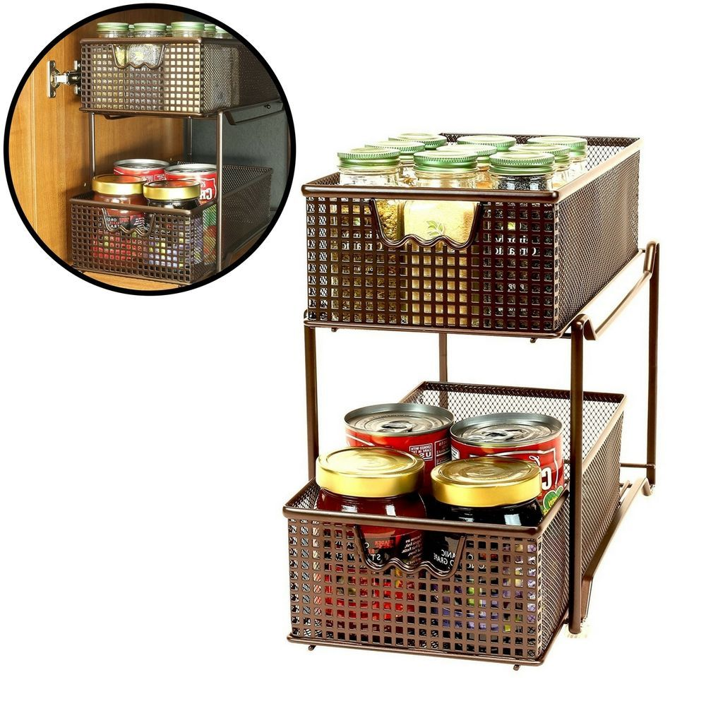 Uncategorized Sliding Basket Organizer details about two shelf basket organizer rack kitchen cabinet storage holder sliding mesh basketorganizerrack