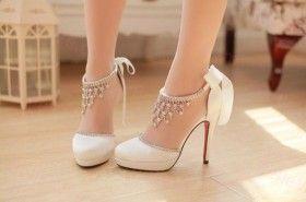 Chaussures de mariage en cuir couleur blanc paillté bride lacets talon 11cm