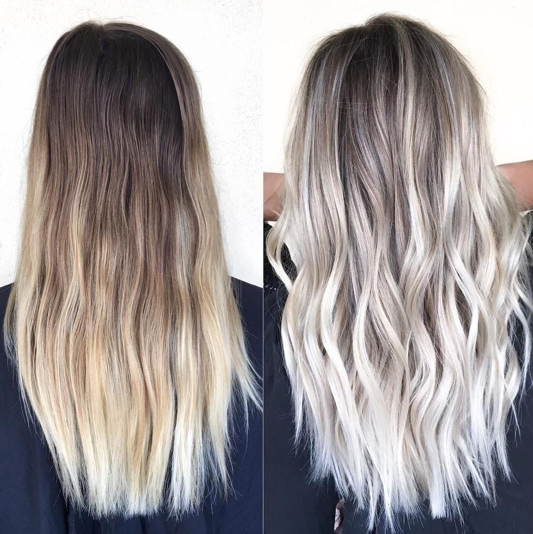 Natural Blonde To Icy Blonde Balayage BlondeHairstylesIdeas