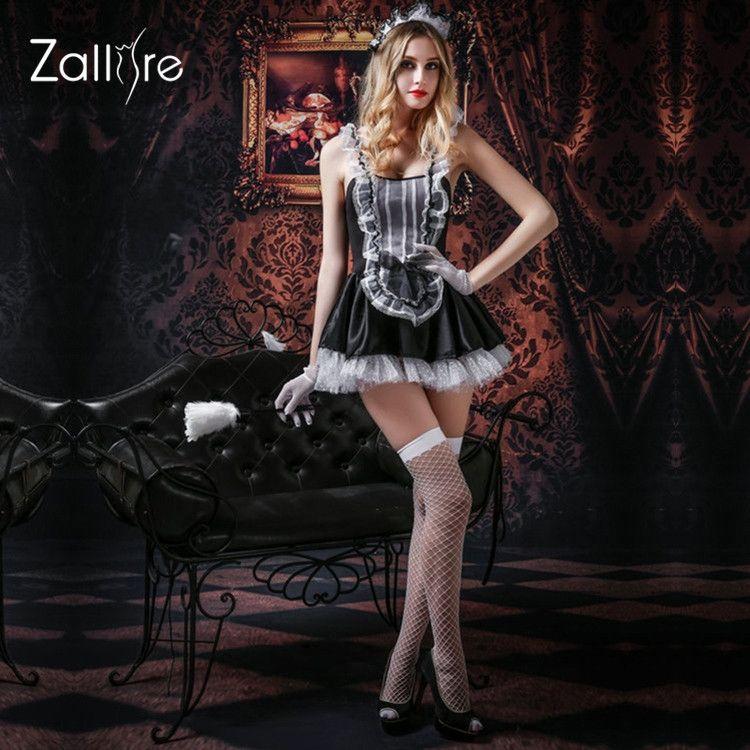 French Maid Uniform Sexy Lingerie Transparent Lace