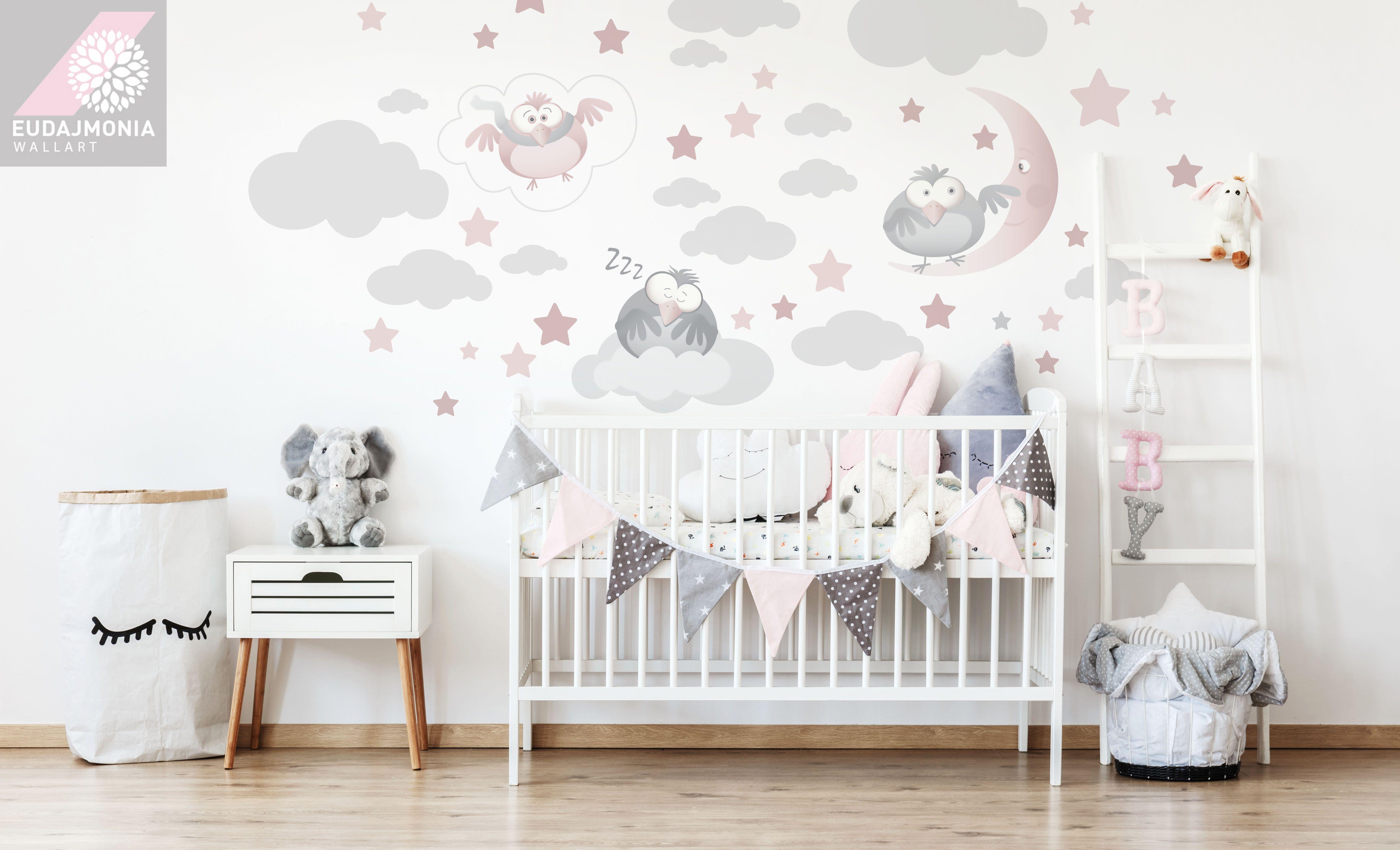 Naklejki Na Sciane Chmurk Gwiazdki Sowy Sen Dzieci 7120242152 Oficjalne Archiwum Allegro Kids Wall Murals Kids Room Wallpaper Room Wall Painting
